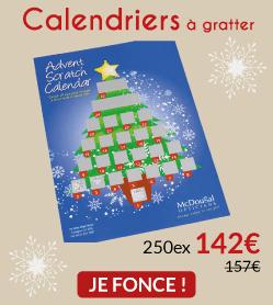 250 calendriers à gratter 142€ (au lieu de 157€)